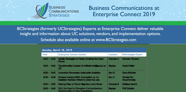Enterprise Connect 2019 BCStrategies Schedule